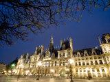 Night View of the Hotel De Ville  Paris