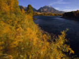Autumnal View of Paradise Valley and the Yellowstone River Emigrant Peak in Distance