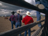 Cowboys Watch a Rodeo in Nebraska