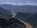 Steep Cliffs Loom over Yangtze River at Western End of Wushan Gorge