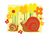 Snail Family in Flowers