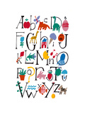 Cute Alphabet with Illustrations Reproduction d'art