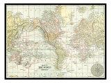 Carte du monde Reproduction d'art