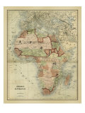 Carte ancienne de l'Afrique Reproduction d'art par Alvin Johnson