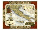 Carte des vins en Italie Reproduction d'art