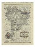Carte ancienne d'Amérique du Sud Reproduction d'art