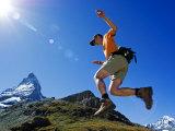 Matterhorn Hiker Running the Trail  Zermatt  Valais  Switzerland