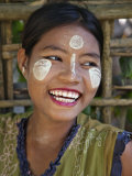 Burma  Kaladan River  A Rakhine Woman with Thanakha  a Popular Local Sun Cream  Myanmar