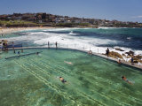 Swimmers Do Laps at Ocean Filled Pools Flanking the Sea at Sydney's Bronte Beach  Australia