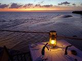 Sunset Dining on the Jetty  Fundu Lagoon Resort  Pemba Island  Zanzibar  East Africa