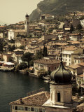 Lombardy  Lake District  Lake Garda  Limone Sul Garda  Town View with San Benedetto Church  Italy