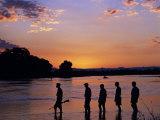 South Luangwa National Park  Walking Safari Crosses Kapamba River at Sunset  Zambia