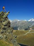 Hiker High on Trail Above Lake at Schwarzee Paradise  Zermatt  Valais  Switzerland