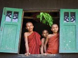 Burma  Rakhine State  Sittwe  Three Novice Monks Look Out of their Dormitory Window at the Pathain