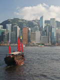 One of Last Remaining Chinese Sailing Junks on Victoria Harbour  Hong Kong  China  Asia