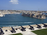 Cannons of Battery High on Defensive Wall of Valletta Protect Entrance to Grand Harbour  Malta