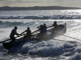 New South Wales  A Surfboat Crew Battles Through Waves at Cronulla Beach in Sydney  Australia