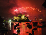New South Wales  Sydney  Opera House and Coathanger Bridge with Boats in Sydney Harbour  Australia