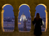 Hungarian Parliament Seen from Fishermans Bastion  Budapest  Hungary