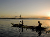 Bahia  Barra De Serinhaem  Fishermen Returning to Shore at Sunset in Thier Dug Out Canoe  Brazil
