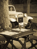 Colonia Del Sacramento  Cafe Table and Old Car  Uruguay