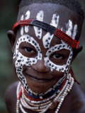 Young Karo Girl Shows Off Her Attractive Make Up  Omo River  Southwestern Ethiopia