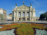 Floral Feature Outside the Lviv Theater of Opera and Ballet  Named after I Franko