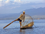 Intha Fisherman with a Traditional Fish Trap  Using Leg-Rowing Technique  Lake Inle  Myanmar