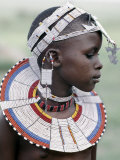 White Beadwork and Circular Scar on Cheek of This Maasai Girl  from the Kisongo Group