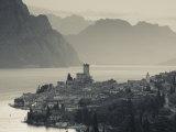 Veneto  Lake District  Lake Garda  Malcesine  Aerial Town View  Italy