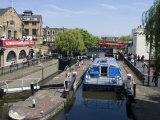 Boat Going Through Camden Lock  London  England  United Kingdom  Europe