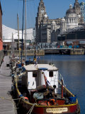 Albert Dock  with View of the Three Graces Behind  Liverpool  Merseyside