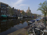 Canal View Looking Towards Mare Church  Leiden  Netherlands  Europe