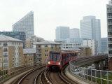 Docklands Light Railways Looking Towards Canary Wharf  London  England  United Kingdom  Europe