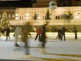 Ice Skating at Night on Ice Rink at Mozartplatz Square  Salzburg  Austria  Europe