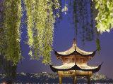 Pavilion on Xi Hu at Dusk  Hangzhou  Zhejiang  China  Asia