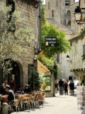 Medieval Street in Walled and Turreted Fortress of La Cite  Carcassonne  UNESCO World Heritge Site