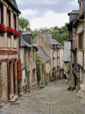 Ancient Cobbled Street and Houses  Rue Du Petit Fort  Dinan  Cotes-D'Armor  Brittany