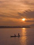 Fishermen at Sunset on the Amazon River  Brazil  South America