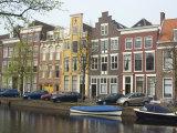 Houses Along Canal  Leiden  Netherlands  Europe