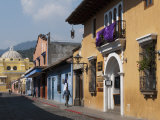 Calle De Santa Catalina and on Background La Merced Church  Antigua  Guatemala