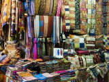Fabrics  Rugs  Scarves  Cushions for Sale  Grand Bazaar  Istanbul  Turkey  Europe