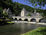Pont Coud  Dronne River and Abbey  Brantome  Dordogne  France  Europe