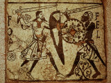 Crusader and Moor in Combat  Mosaic  12th century Romanesque