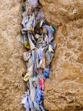 Prayer Papers Stuffed into the Western Wall  Jerusalem  Israel  Middle East