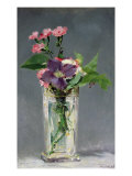 Pinks and Clematis in a Crystal Vase  c1882