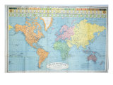 World Map of the Different Time Zones  Published by Blondel La Rougery in Paris c1920