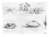 Design for a Scythed Chariot and Armoured Car  c1487