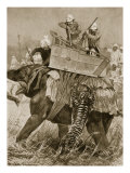 Prince of Wales to India  1876: Prince's Elephant Charged by Tiger  from 'Illustrated London News'