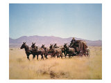 Western Stagecoach Pulled by a Six Mule Team